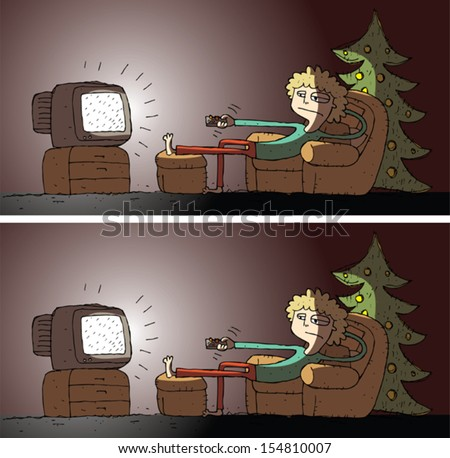 Watching TV Differences Visual Game. Task: find 5 differences! Solution in hidden layer (vector file only). Illustration is in eps8 vector mode! - stock vector