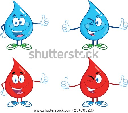 Water and Blood Drop Giving A Thumb Up. Vector Collection Set - stock vector