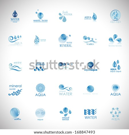 Water And Drop Icons Set - Isolated On Gray Background - Vector Illustration, Graphic Design Editable For Your Design.    - stock vector