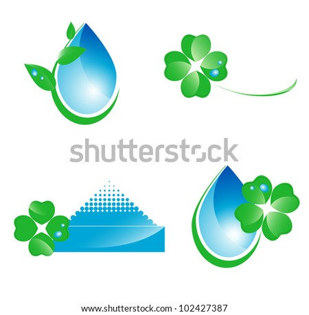 Water and green leaf ecology set of icons and symbols over white - stock vector