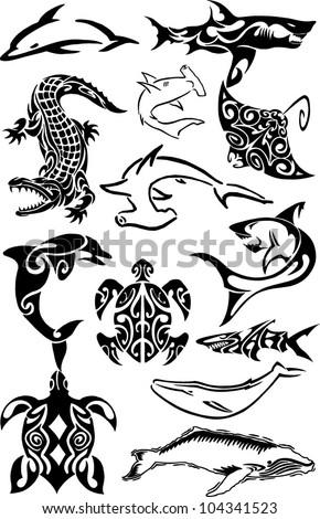 water animals - stock vector