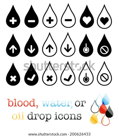 Water, blood, or oil droplet icons - stock vector