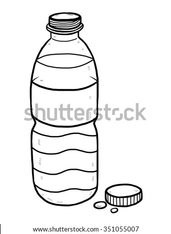 water bottle / cartoon vector and illustration, black and white, hand drawn, sketch style, isolated on white background. - stock vector