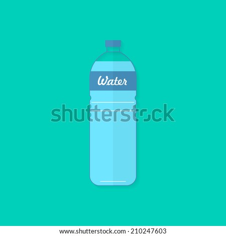 Water bottle. Flat design, with shadow. Use for card, poster, brochure, banner, web design. Easy to edit. Vector illustration - EPS10. - stock vector