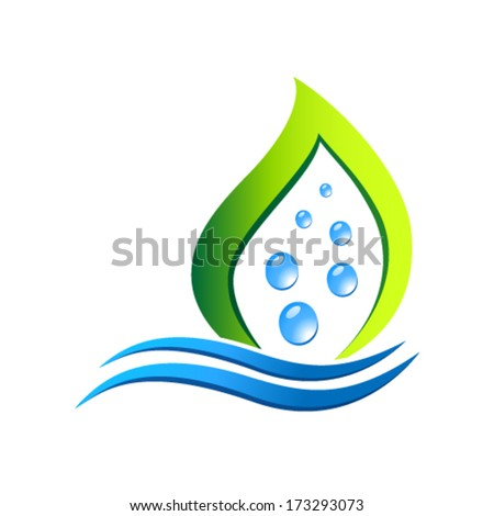 water bubbles and leaf - eco icon - stock vector