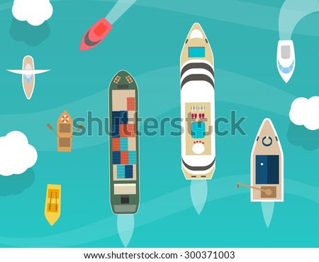 Water carriage and maritime transport icons set, top view, in flat design style. Ship, boat, vessel, cargo ship, motorboat, cruise ship, rowboat, yacht, isolated on blue background - stock vector