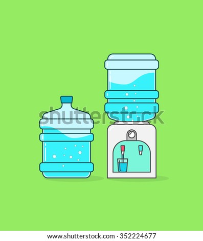 Water cooler vector badge illustration, outline concept, dispenser flat icon shape label, full bottles of water, fresh flowing in glass cup symbol, sticker isolated, pictogram design filtration tool - stock vector