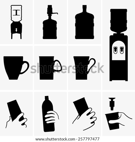 Water coolers and cups  - stock vector