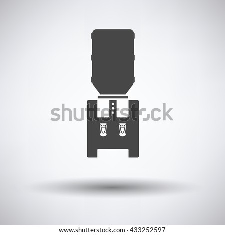 Water cooling machine on gray background with round shadow. Vector illustration. - stock vector