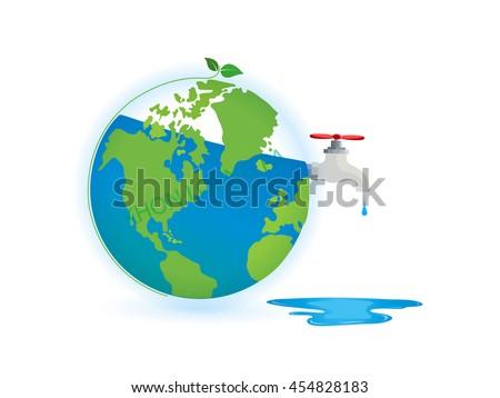 water crane on green earth - stock vector