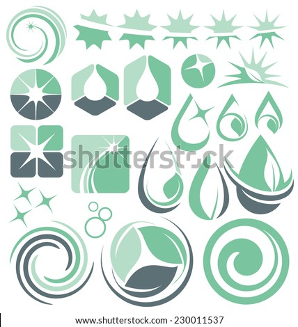 Water design elements collection of vectors. Set of minimalistic cleaning service logo designs, signs, icons, symbols and labels. - stock vector