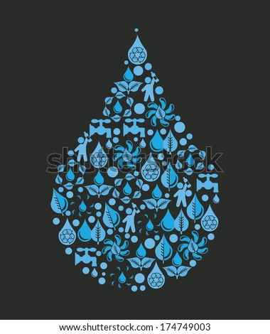 water design over  black background vector illustration - stock vector
