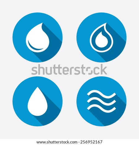 Water drop icons. Tear or Oil drop symbols. Circle concept web buttons. Vector - stock vector