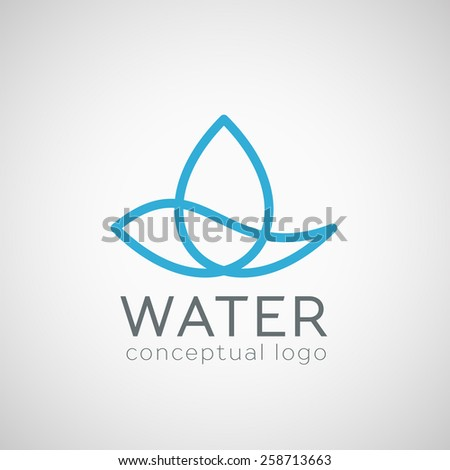 Water drop logo template for ecology concept or drinking water. Vector symbol - stock vector