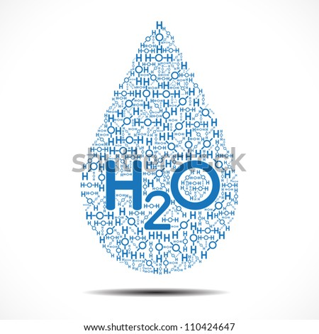 Water drop made out of Oxygen and Hydrogen Ions on white background. - stock vector