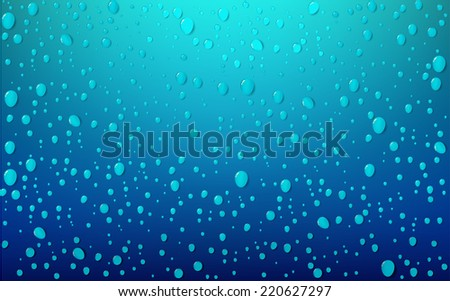 Water Drop On Blue Background - stock vector