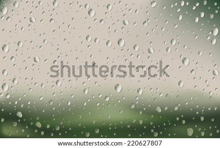 Water Drop On Glass with blur Nature Background - stock vector