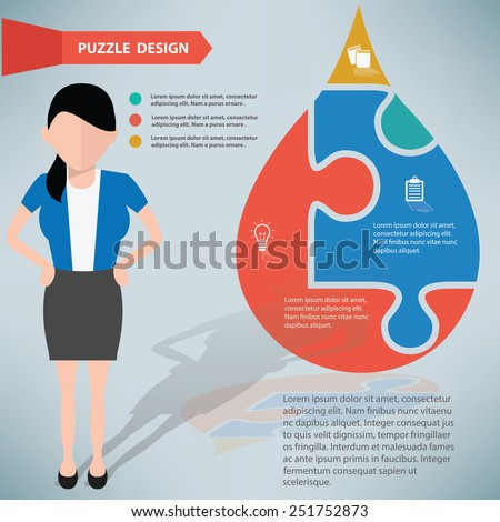 Water drop puzzle and businessman info graphic design,clean vector - stock vector