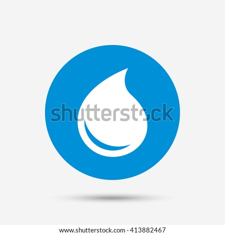 Water drop sign icon. Tear symbol. Blue circle button with icon. Vector - stock vector