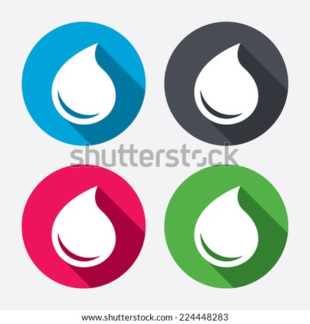 Water drop sign icon. Tear symbol. Circle buttons with long shadow. 4 icons set. Vector - stock vector