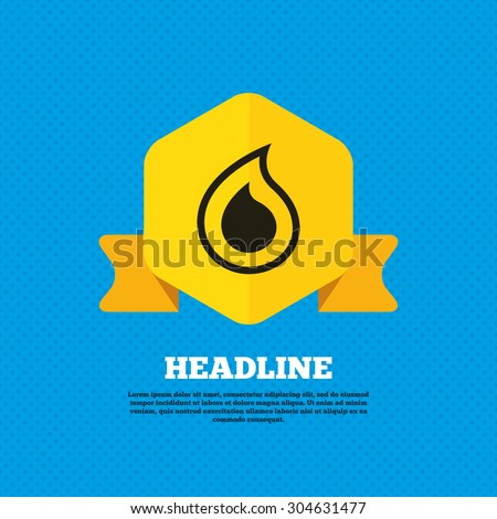 Water drop sign icon. Tear symbol. Yellow label tag. Circles seamless pattern on back. Vector - stock vector