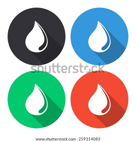 Water drop vector icon - colored(gray, blue, green, red) round buttons with long shadow - stock vector