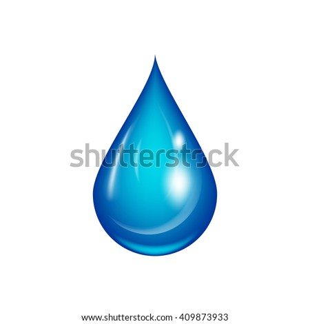 Water drop vector illustration. Clean water drop isolated on white. Falling water drop. Vector water drop. - stock vector