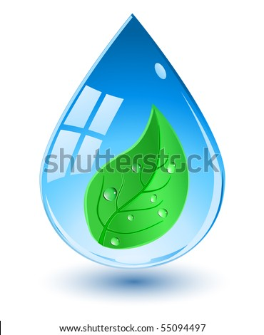 water drop with green leaf - stock vector