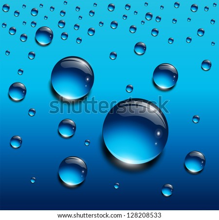 Water drops blue, vector background. - stock vector