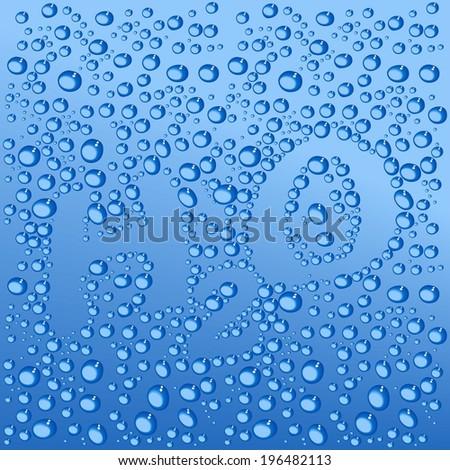 water drops H2O shaped - vector - stock vector