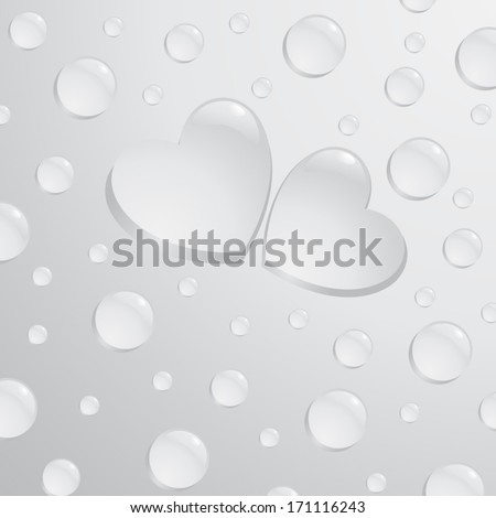 Water drops in shape of a hearts - stock vector
