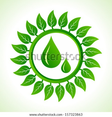 Water drops inside the leaf background stock vector - stock vector