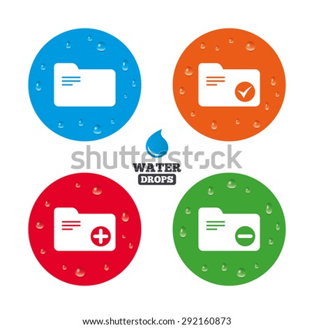 Water drops on button. Accounting binders icons. Add or remove document folder symbol. Bookkeeping management with checkbox. Realistic pure raindrops on circles. Vector - stock vector