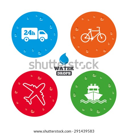Water drops on button. Cargo truck and shipping icons. Shipping and eco bicycle delivery signs. Transport symbols. 24h service. Realistic pure raindrops on circles. Vector - stock vector