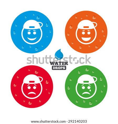 Water drops on button. Rapper smile face icons. Happy, sad, cry signs. Happy smiley chat symbol. Sadness depression and crying signs. Realistic pure raindrops on circles. Vector - stock vector