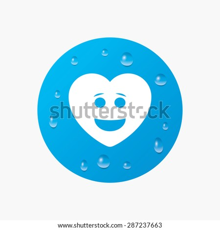 Water drops on button. Smile heart face sign icon. Happy smiley with hairstyle chat symbol. Realistic pure raindrops. Blue circle. Vector - stock vector