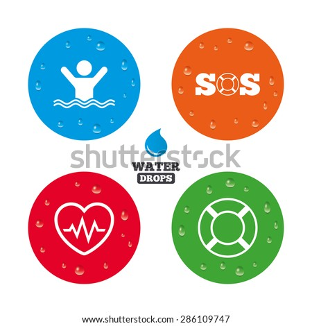 Water drops on button. SOS lifebuoy icon. Heartbeat cardiogram symbol. Swimming sign. Man drowns. Realistic pure raindrops on circles. Vector - stock vector