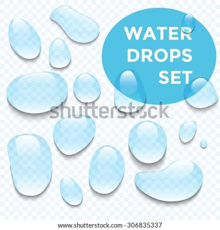 Water drops realistic set - stock vector