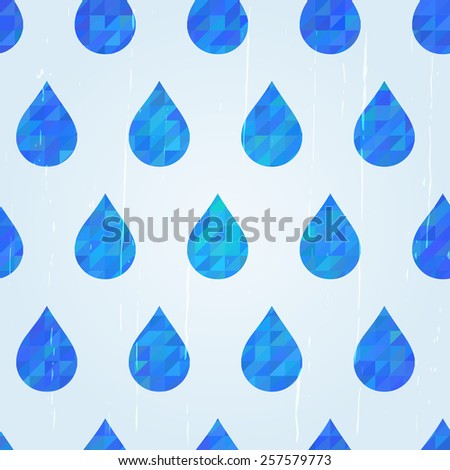 Water drops seamless pattern, rainy day pattern. Blue water drops with mosaic texture vector background. Use for textiles, interior, wrapping paper, package decoration. Layered, editable design. - stock vector