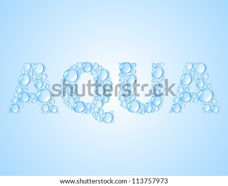 water drops shaped word AQUA on blue background. vector illustration - stock vector