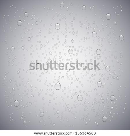Water drops transparent, vector background - stock vector