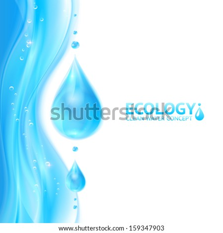 Water drops vector ecology background, leaflet template for your business presentation - stock vector