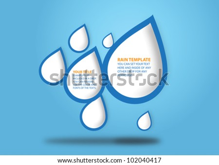 Water drops with a white center for text writing falling from above in a solid blue with some light effects background. - stock vector