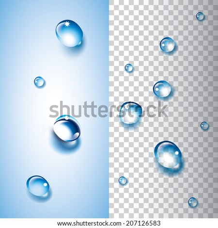 Water drops with transparency. Each water drop is grouped and can overlay an object or a picture to give a water drop effect. - stock vector
