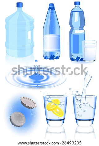 Water elements, vector illustration, EPS file included - stock vector
