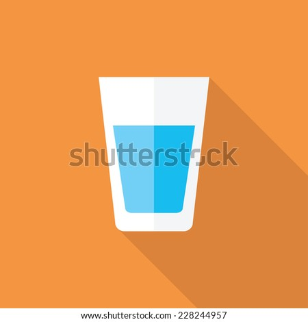 Water flat icon. Modern flat icons with long shadow effect in stylish colors. Icons for Web and Mobile Application. EPS 10. - stock vector