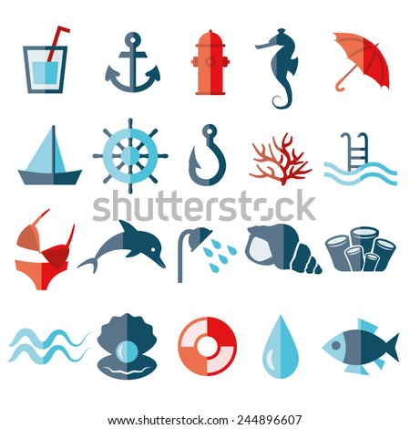 water flat icons - stock vector