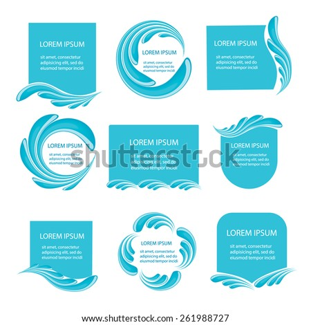 Water frames set, vector illustration. Blue water splashes labels and tags. - stock vector