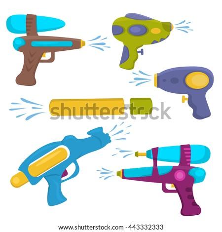 Water gun isolated. Plastic water gun songkran festival squirt gun. Set water guns. collection water pistols on white. Water pistols water spray vector toy guns. Water guns flat set for water fights. - stock vector