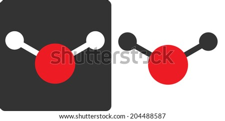 Water (H2O) molecule, flat icon style. Atoms shown as color-coded circles (oxygen - red, hydrogen - white/grey).	 - stock vector